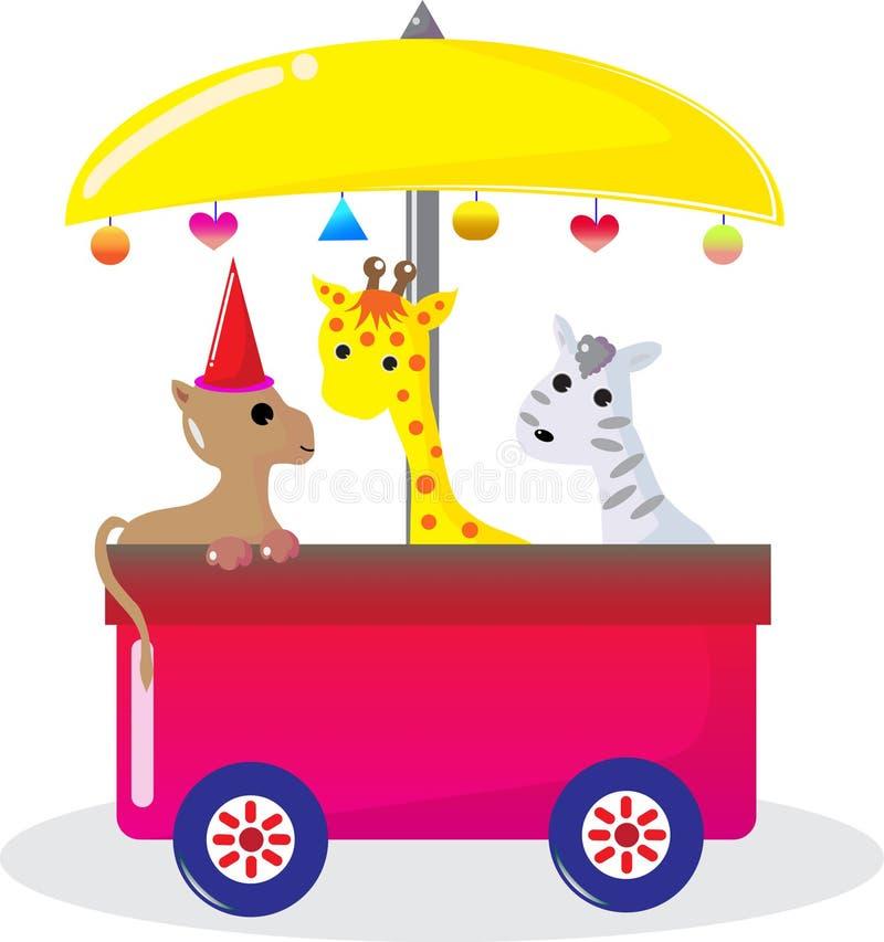 Giraffe et zèbre de crabot illustration stock
