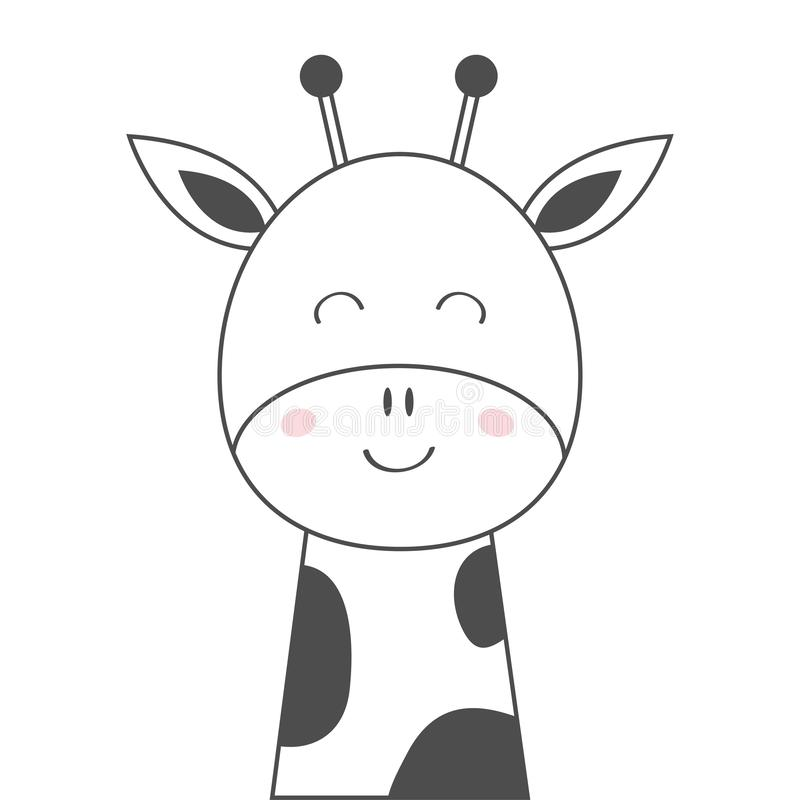 Giraffe face head line sketch icon. Kawaii animal. Cute cartoon character. Funny baby with eyes, nose, ears. Kids print. Love. Greeting card. Flat design. White royalty free illustration