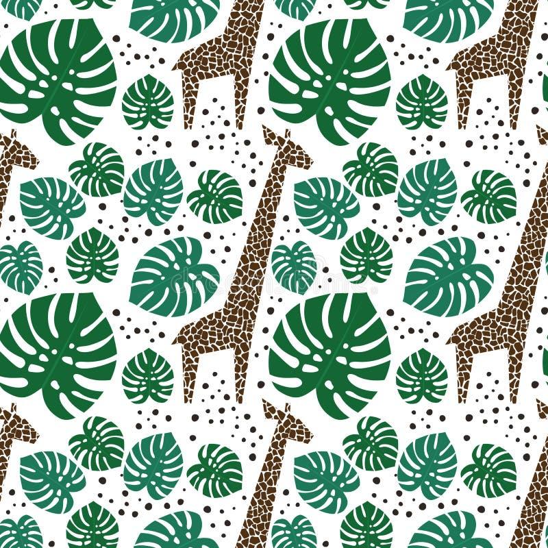 Giraffe, foglie di palma e modello senza cuciture dei punti su fondo bianco illustrazione vettoriale