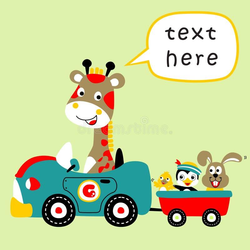 Giraffe and friends on car, vector cartoon illustration stock illustration