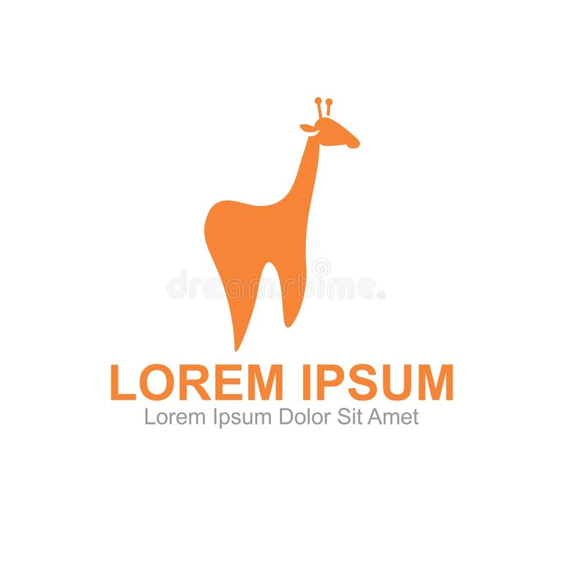 Giraffe Fun Dental Clinic Logo. Template, Can be used for personal and Corporate Business stock illustration
