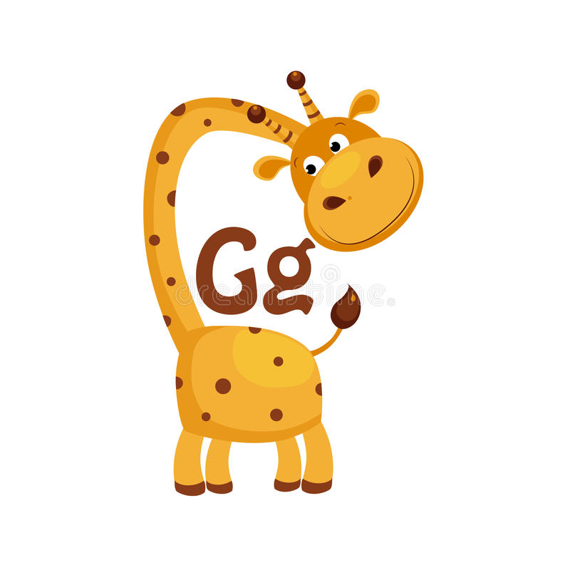 Giraffe. Funny Alphabet, Animal Vector Illustration. Giraffe. Funny Alphabet, Colourful Animal Vector Illustration stock illustration