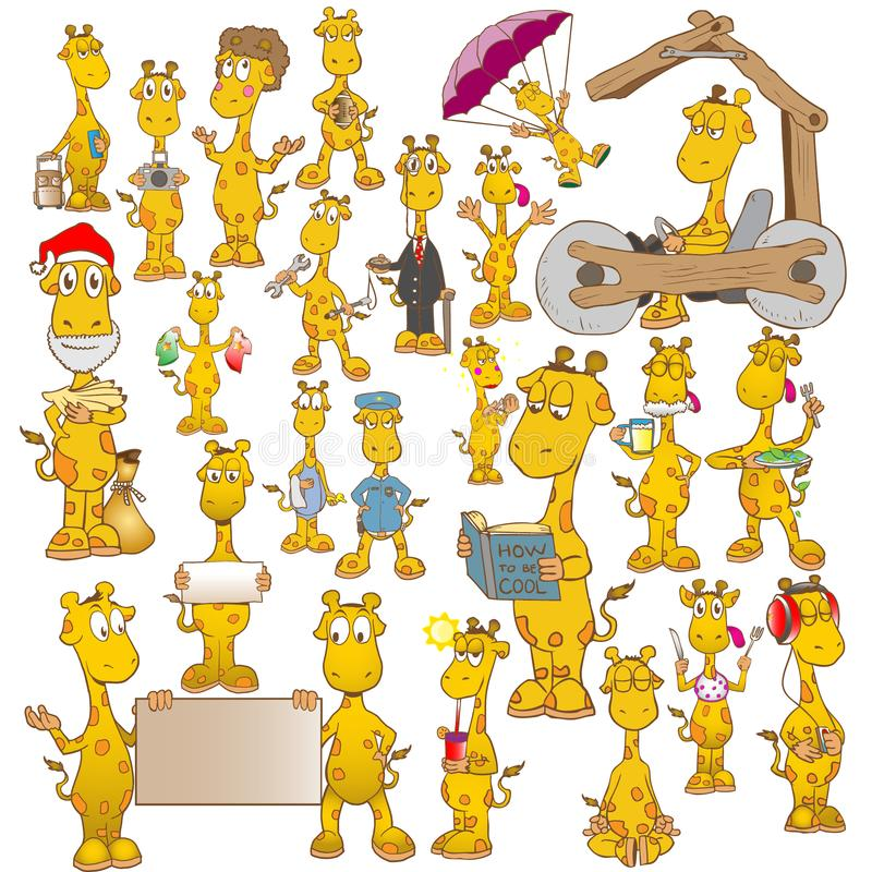 Giraffe cartoon character collection. This is a collection of cute giraffe characters in 24 various gestures to choose from. Each giraffe has a unique pose to royalty free illustration