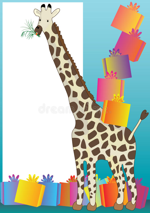 Giraffe And Gift_eps vector illustration