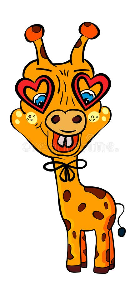 Giraffe with glasses in shape of heart and in pants with suspenders. Funny giraffe. Valentine`s Day. The sweet feeling of love. stock illustration