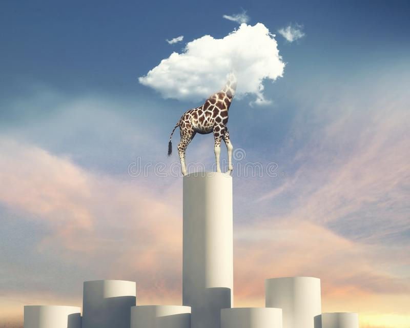 Giraffe head in cloud stock images