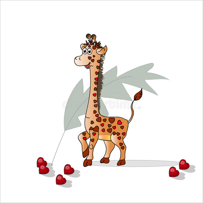 Giraffe in the hearts for Valentine`s Day.. Vector decorative texture. vector illustration