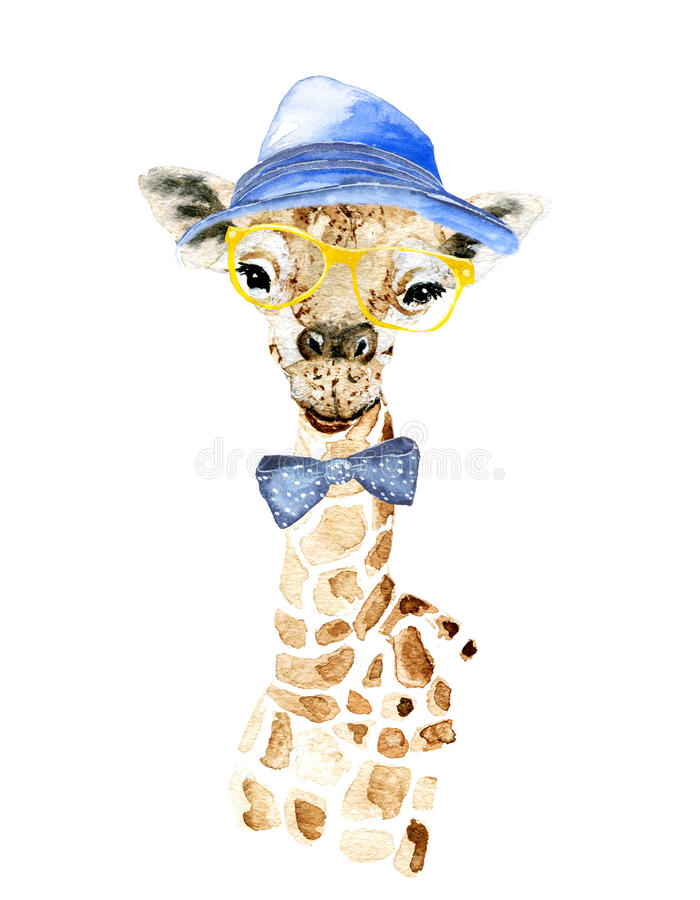 Giraffe hipster royalty free stock images
