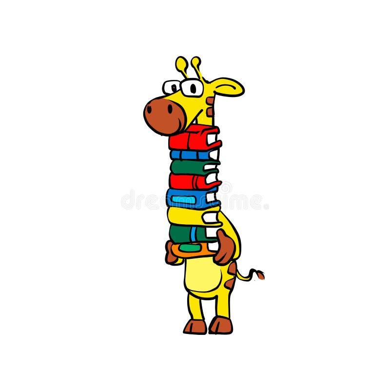 Giraffe holding books stock illustration