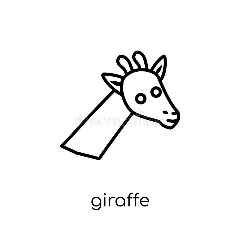 Giraffe icon. Trendy modern flat linear vector Giraffe icon on w stock illustration