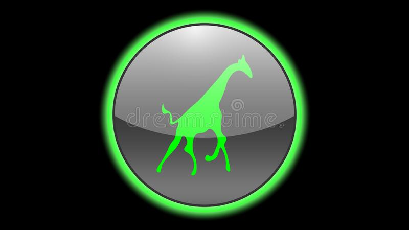 Giraffe icon vector design. Green neon icons with animals. Animals icons vector vector illustration