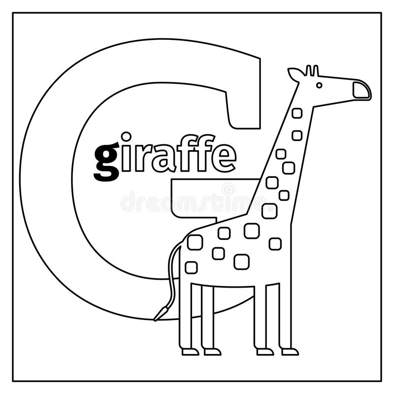 Giraffe, Letter G Coloring Page Stock Vector - Illustration of ...