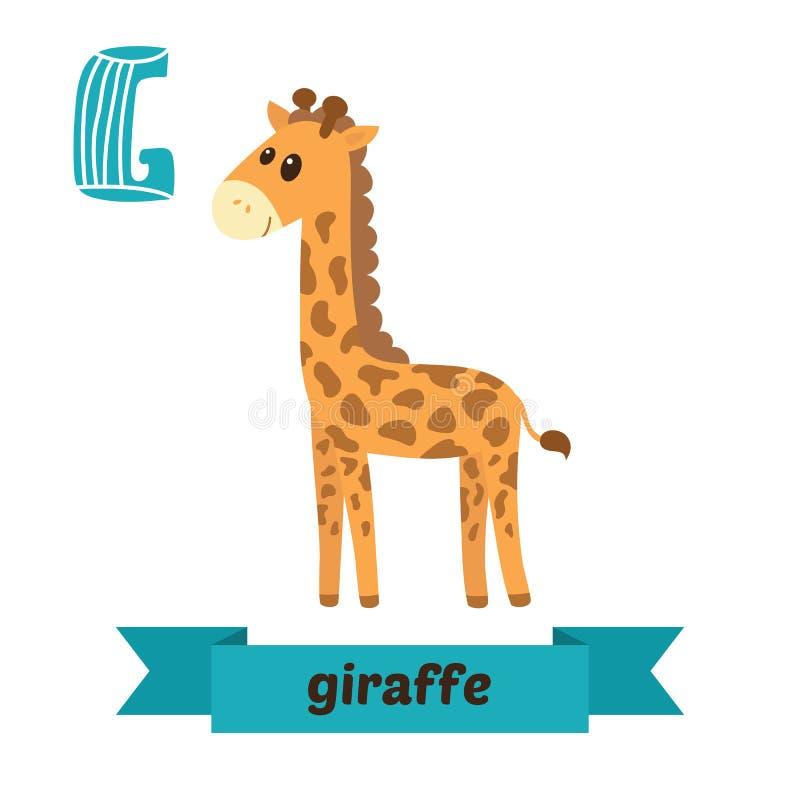 giraffe Lettera di G Alfabeto animale dei bambini svegli nel vettore Funn royalty illustrazione gratis
