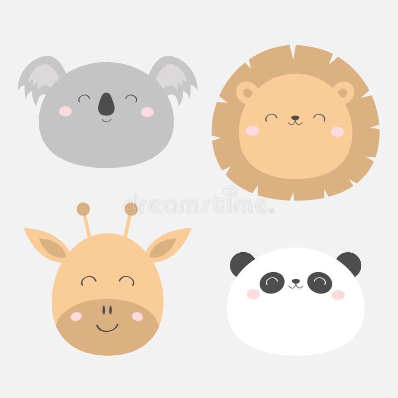 Giraffe Lion Koala Panda bearround face head icon set. Kawaii animal. Cute cartoon character. Funny baby kids print. Love Greeting. Card. Flat design. White vector illustration