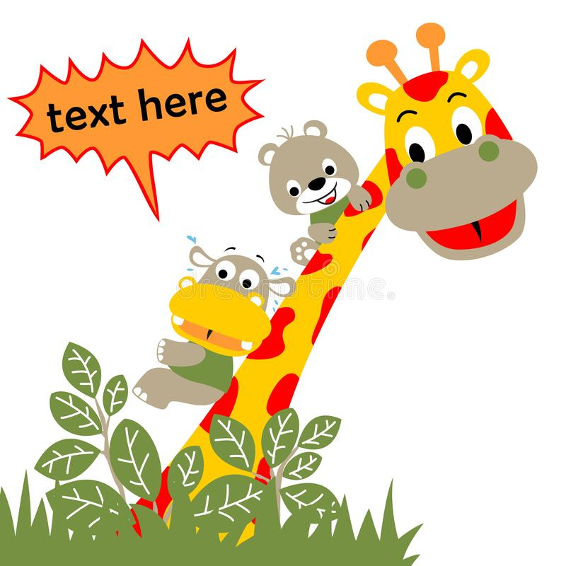 Giraffe and little friends in the jungle, vector cartoon royalty free illustration