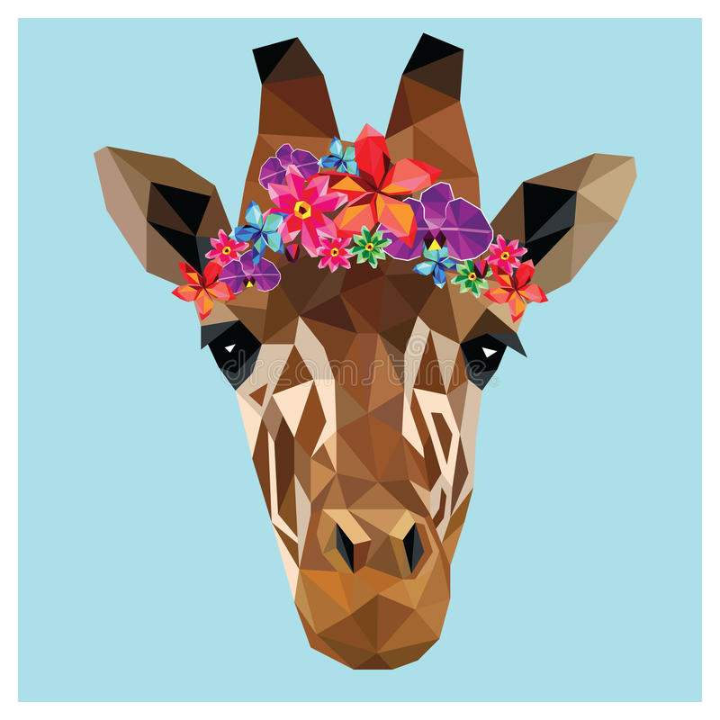 Giraffe low poly. Giraffe head colorful low poly design on blue background with white outline. Animal portrait card design. Background with wild animal. Vector royalty free illustration