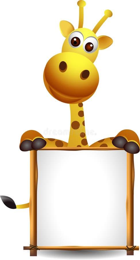 Giraffe mignonne avec le signe blanc illustration libre de droits