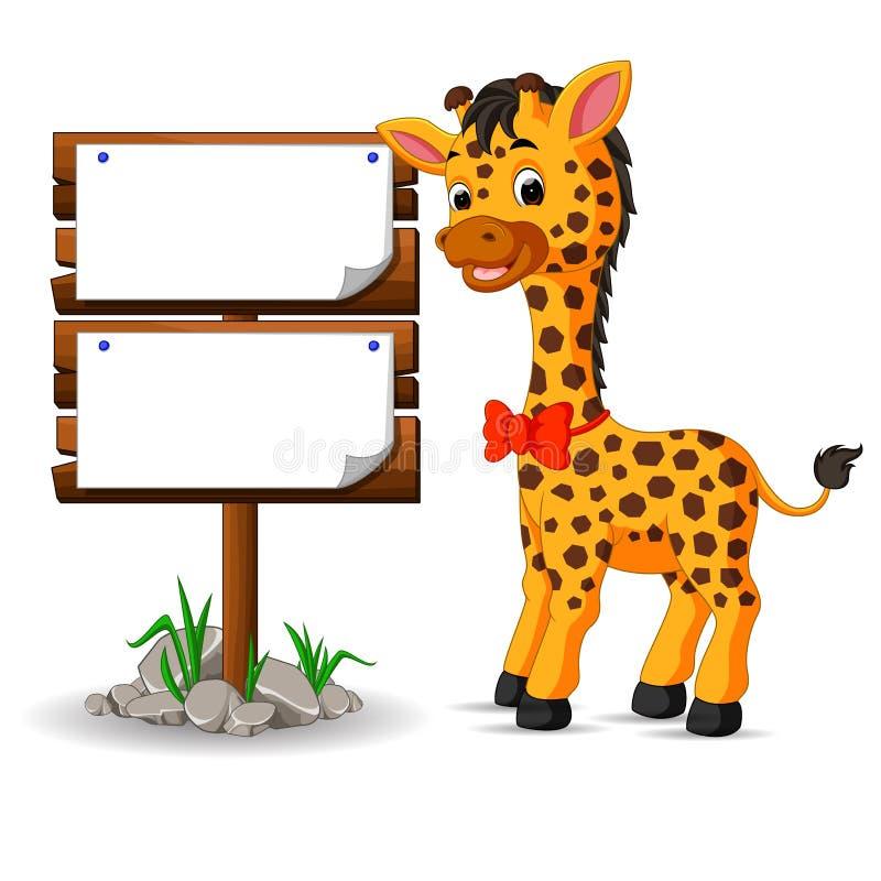 Giraffe mignonne avec le signe blanc illustration stock