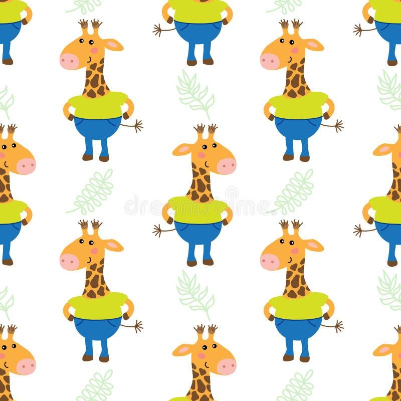 giraffe mignonne de dessin animé illustration de vecteur