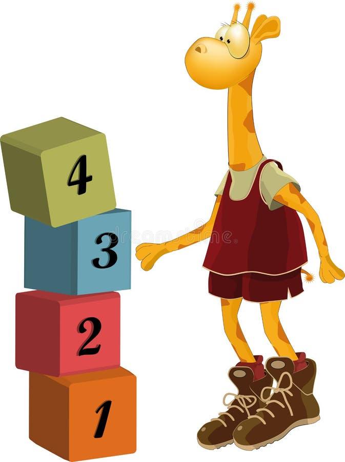 Giraffe o jogador de basquetebol ilustração do vetor