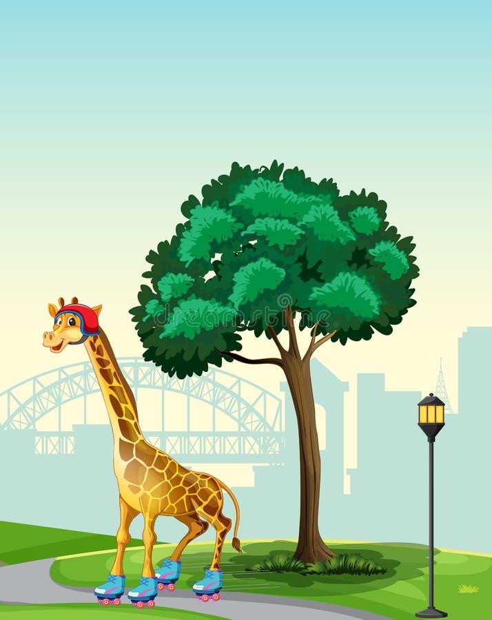 Giraffe in park scene royalty free illustration
