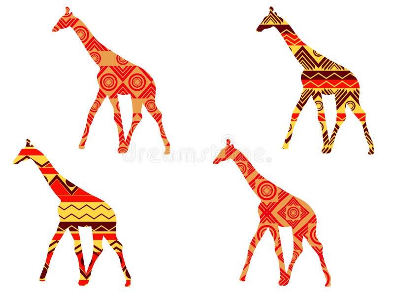 Giraffe pattern. Giraffe in ethnic style. Set of giraffes. stock illustration