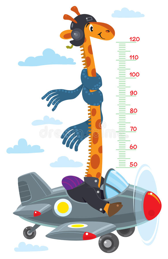Giraffe on plane. Meter wall or height chart. Cheerful funny giraffe on airplane. Height chart or meter wall or wall sticker. Childrens vector illustration with vector illustration