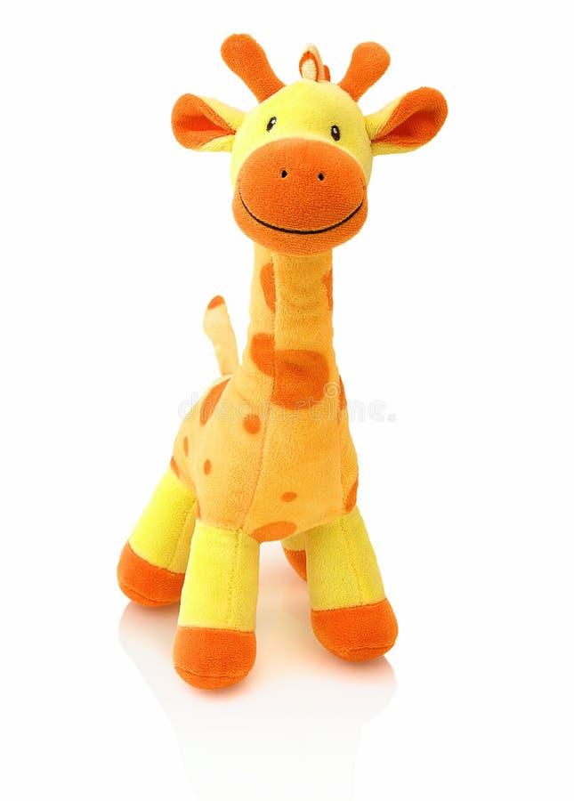 Giraffe plushie Puppe lokalisiert auf weißem Hintergrund mit Schattenreflexion Angefüllte Marionette der Giraffe Plüsch auf weiße stockfotografie
