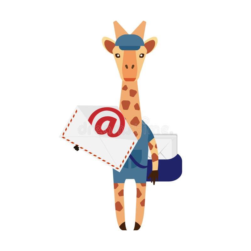 Giraffe postman stock illustration