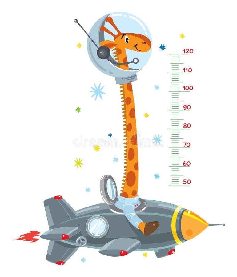 Giraffe on rocket. Meter wall or height chart. Cheerful funny giraffe on space rocket. Height chart or meter wall or wall sticker. Childrens vector illustration vector illustration