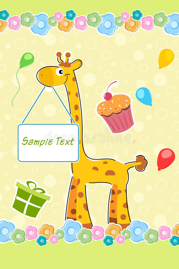 Download Giraffe With Sample Text Board On Birthday Backgro Stock Images - Image: 16684424