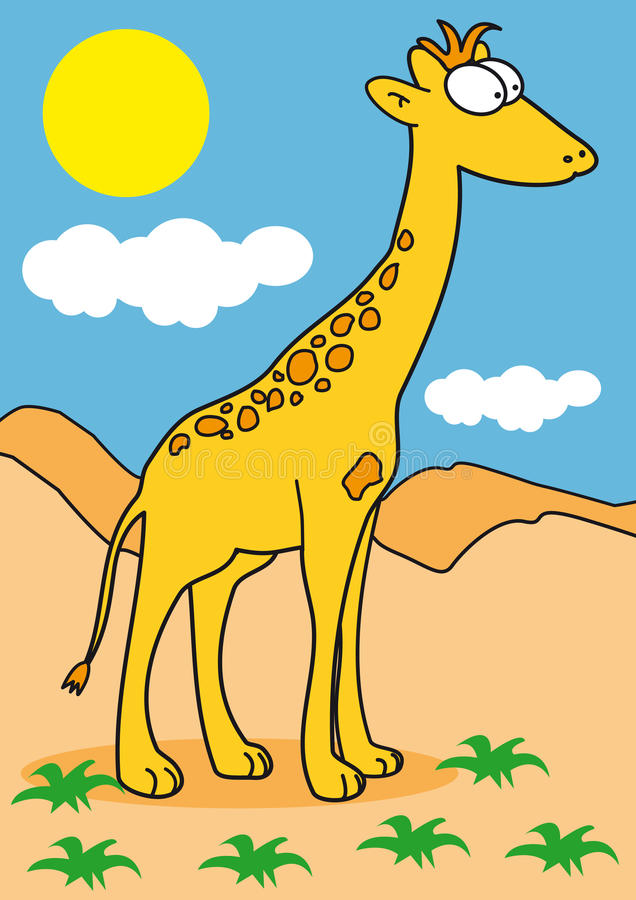 A giraffe in the savanna stock illustration