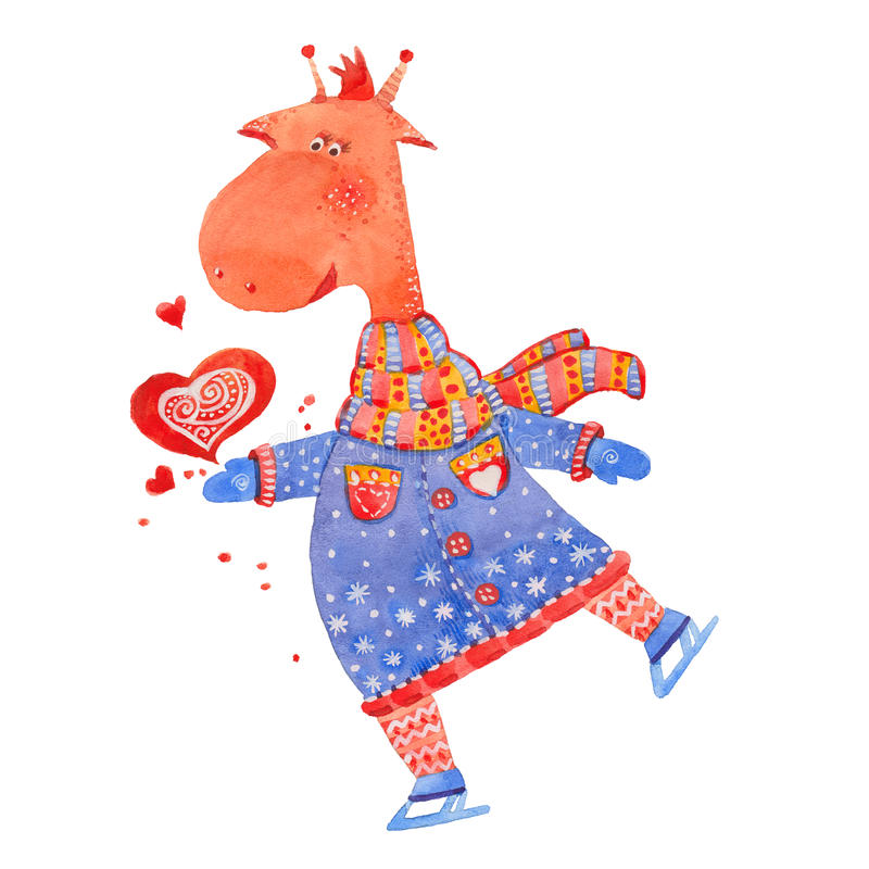 Giraffe on skates. Watercolor illustration on white background stock illustration