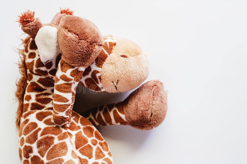Giraffe soft toy and plush animal doll on white background. For kids royalty free stock photography