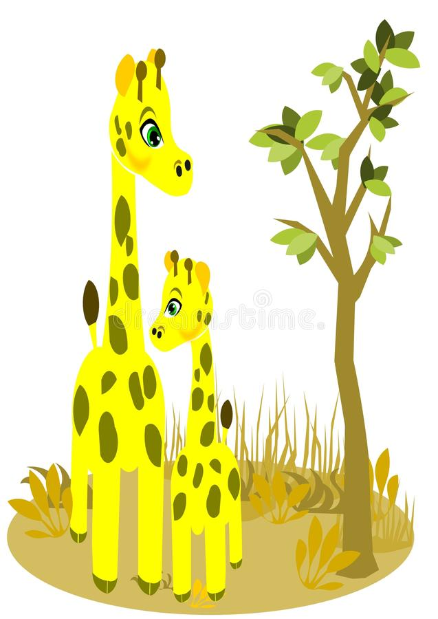 Giraffe and son royalty free illustration