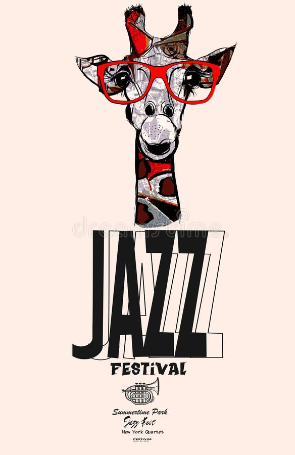 Giraffe with sunglasses - jazz poster vector illustration
