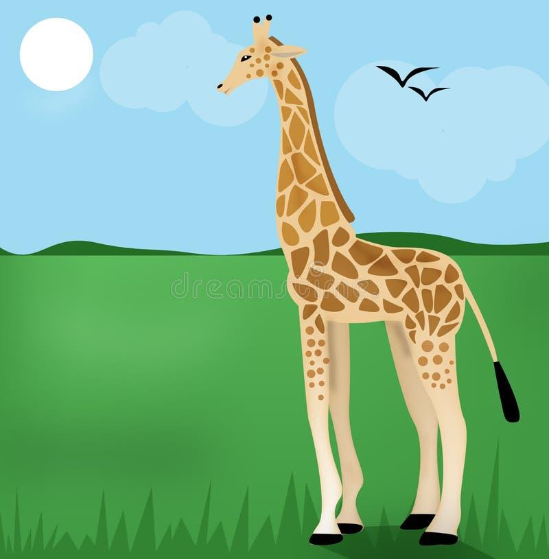Giraffe sur l'herbe verte illustration stock