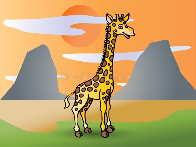 Giraffe sur la prairie illustration stock