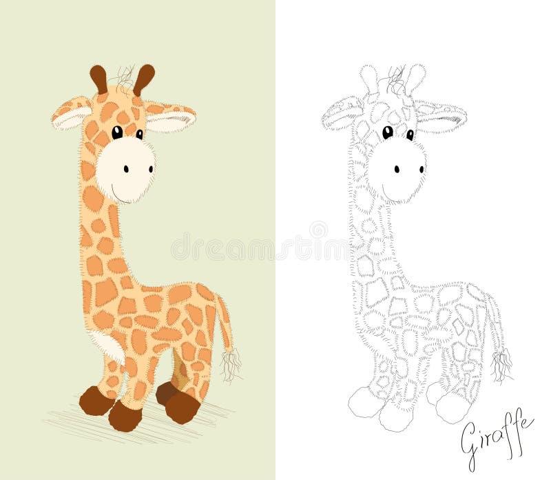 Giraffe tirée par la main - jouet illustration libre de droits