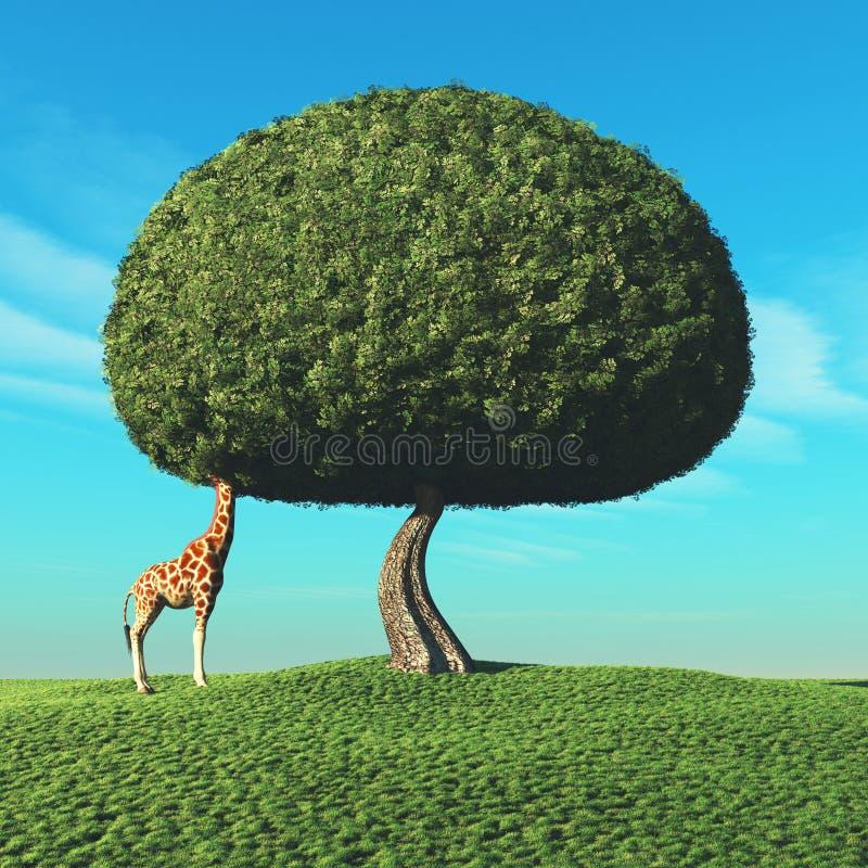 Giraffe and the tree vector illustration