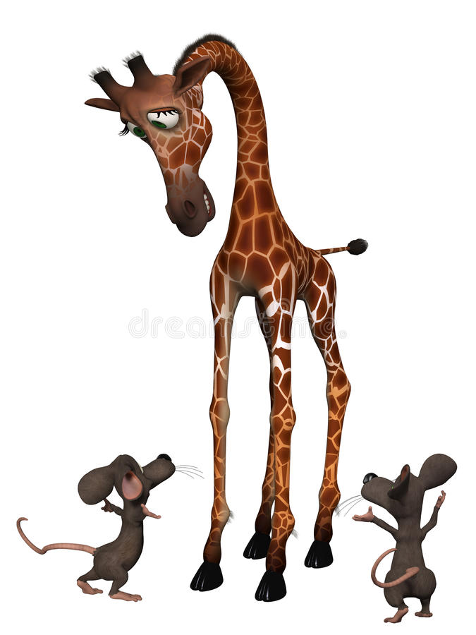 Giraffe with two cartoon mice. Tall small concept. Isolated on the white background royalty free illustration