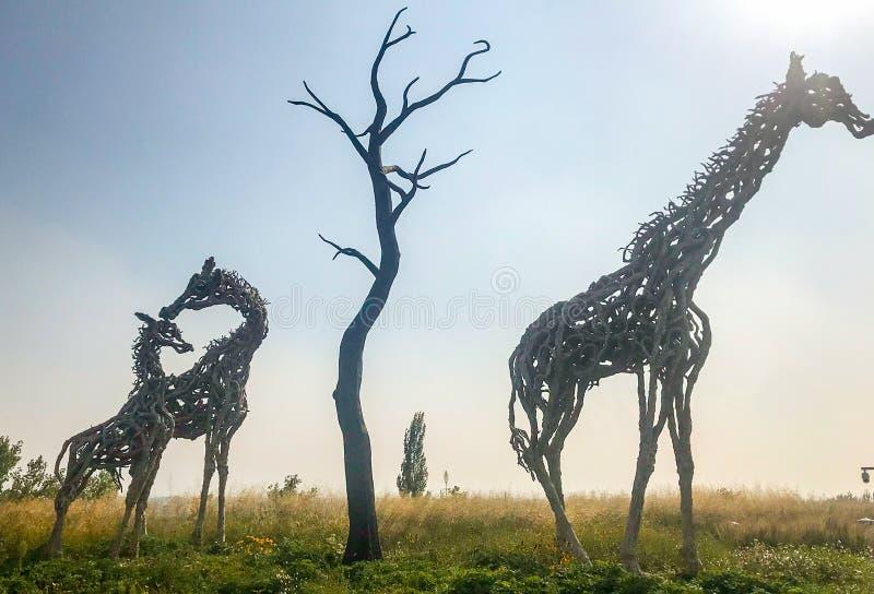 Giraffe una familia de tres trabajos de tallado de madera foto de archivo libre de regalías