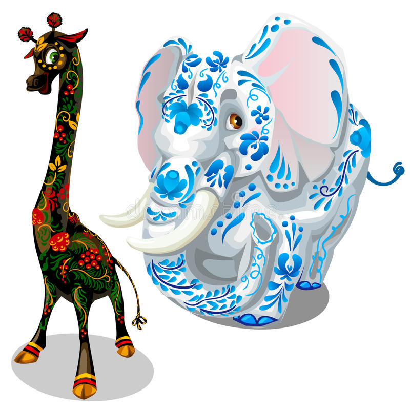 Giraffe und Elefanten malten Figürchen Vektor stock abbildung