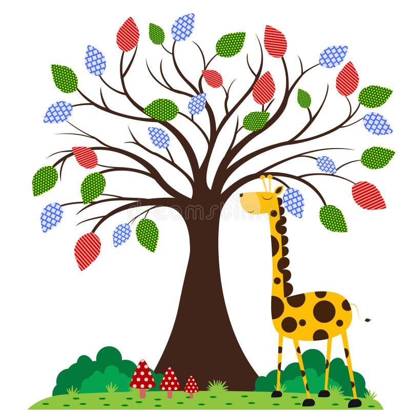 Giraffe unter Baum vektor abbildung