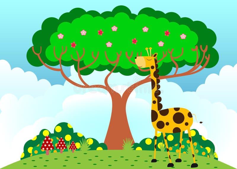 Giraffe unter Baum im sonnigen Wetter stock abbildung