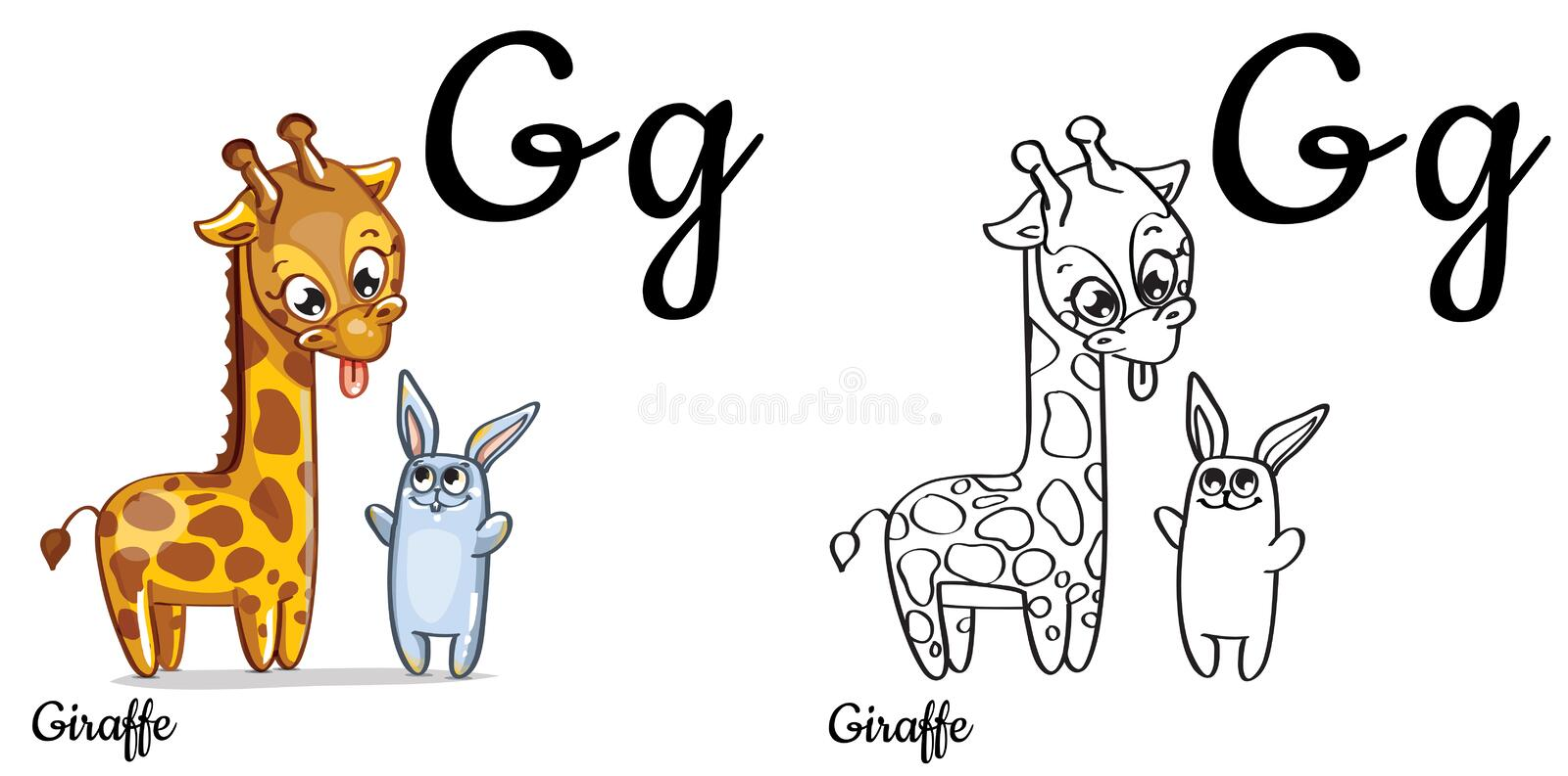 Giraffe. Vector Alphabet Letter G, Coloring Page Stock Illustration ...