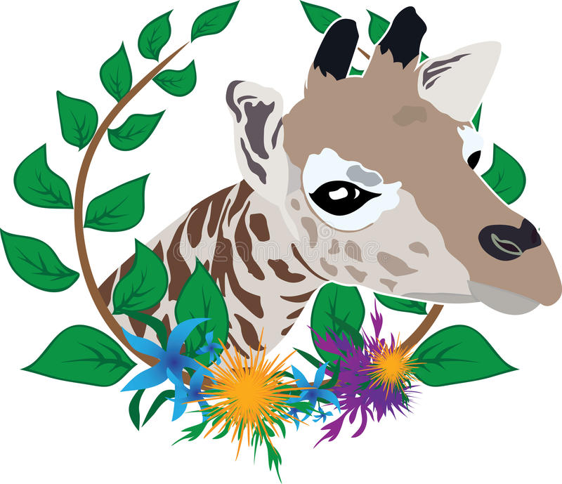 Download Giraffe in wreath stock vector. Image of happiness, head - 26161285