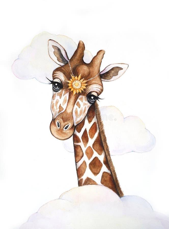 Giraffen-Aquarellillustration stockfoto