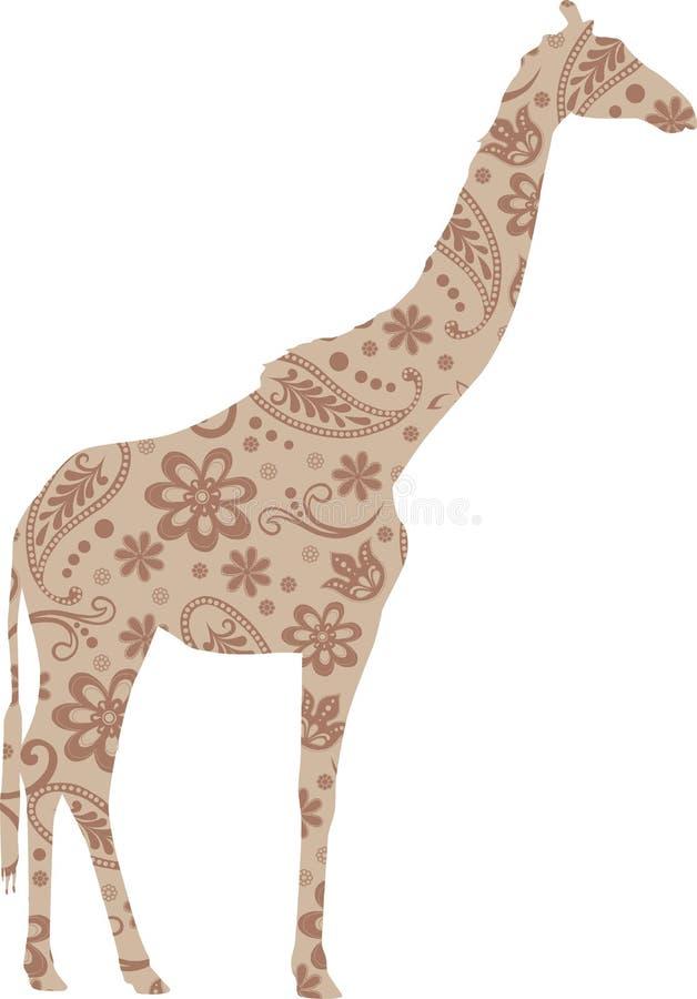Giraffen-Blumenmuster-Beige stockbild