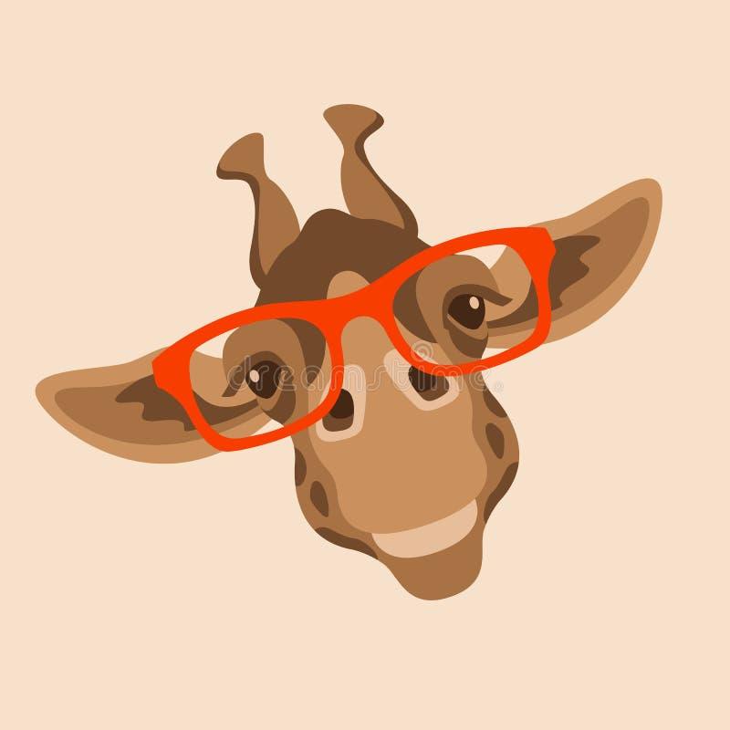 Giraffengesicht in den Gläsern vector flache Art der Illustration vektor abbildung